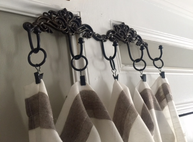 Easy Curtain Ideas Using Inexpensive Curtain Panels (found At Tuesday  Morning), Some Curtain Clip Rings, And A Multipurpose Iron Holder (Hobby  Lobby).